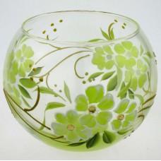 """Ваза стеклянная ручной работы """"Зеленые цветы"""""""