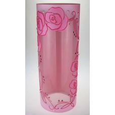 """Ваза стеклянная ручной работы """"Розовые цветы"""""""