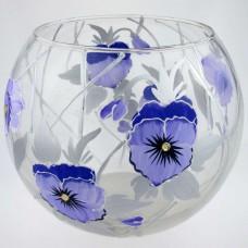 """Ваза стеклянная ручной работы """"Синие цветы"""""""