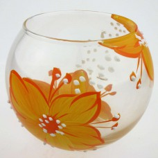 """Ваза стеклянная ручной работы """"Оранжевые цветы"""""""