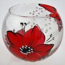 """Ваза стеклянная ручной работы """"Красные цветы"""""""