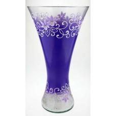 """Ваза стеклянная ручной работы """"Фиолетовые цветы"""""""