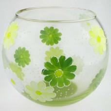 """Ваза стеклянная ручной работы """"Салатовые цветы"""""""