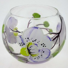 """Ваза стеклянная ручной работы """"Белые цветы"""""""