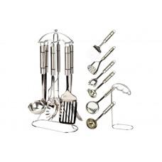 Кухонный набор Maestro - 7 ед. Нержавеющая сталь Лопатка, картофелемялка, половник, шумовка, подставка, ложка для спагетти, соусник