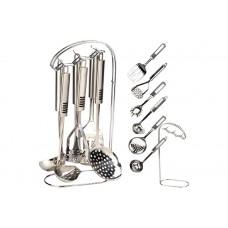 Кухонный набор Maestro - 7 ед.Нержавеющая сталь Лопатка, картофелемялка, половник, шумовка, подставка, ложка для спагетти, соусник.