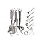 Кухонный набор Maestro - 7 ед. Нержавеющая сталь Лопатка, картофелемялка, половник, шумовка, подставка, ложка для спагетти, соусник.