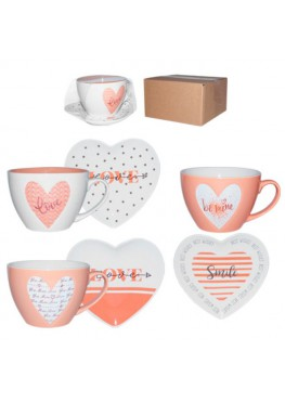 Посуда,чашки, блюдца с сердечками