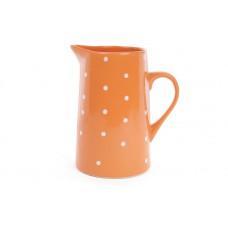 Кувшин керамический Белый горошек 1000мл, оранжевый