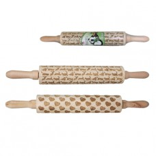 Скалка с трафаретом для декора Премиум 43см дерево