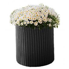 Горшок для цветов 7 л. Cylinder Planter Small, серый из искусственного ротанга