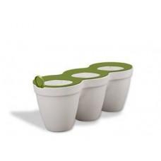 Горшок для цветов Ivy Herbs 7,5 л. Пластиковый тройной белый Израиль