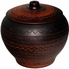 Горшок для запекания дымленый / резной 700 мл. керамический глиняный