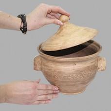 Кастрюля 2,6 л Виноград керамическая глиняная