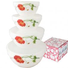 Набор емкостей для хранения продуктов с крышкой Красный мак 4 шт (18 см, 15 см, 13 см, 11 см) SNT