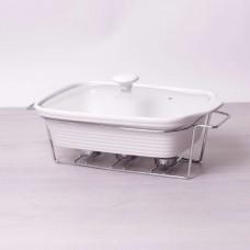 Мармит керамический 2.4л со стеклянной крышкой и металлической подставкой