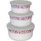 Набор салатников с крышкой 3 шт Цветение сакуры SNT Стеклокерамика