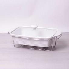 Мармит керамический 3л со стеклянной крышкой и металлической подставкой