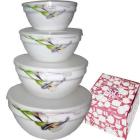 Набор салатников с крышкой 4 шт Каллы SNT Керамика