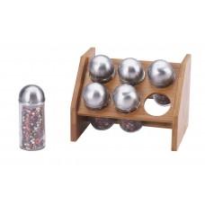 Набор для специй на деревянной подставке 6 пр RENBERG