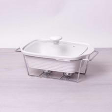 Мармит керамический 1.4л со стеклянной крышкой и металлической подставкой